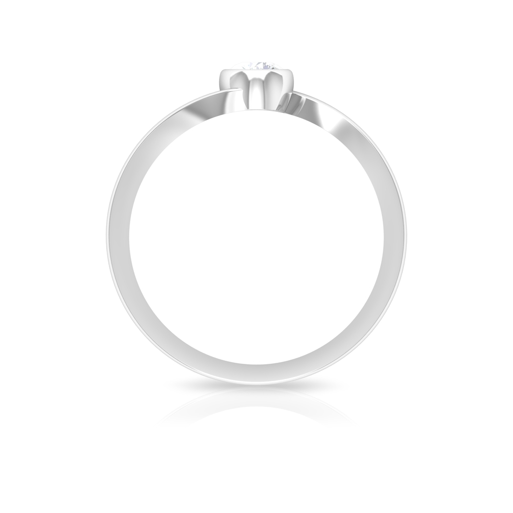 4 MM Diamond Solitaire Ring in Bezel Setting with Bypass Shank