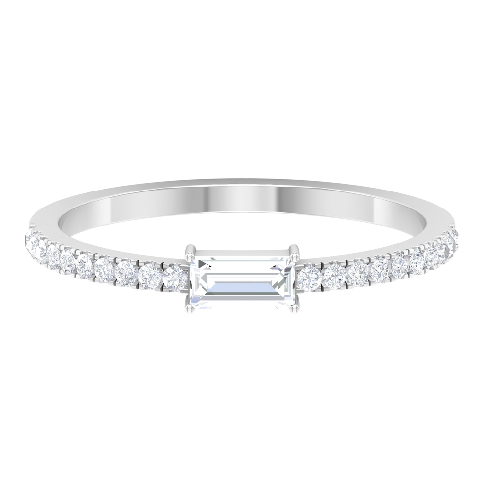 1/2 CT Baguette and Round Diamond Stackable Band Ring