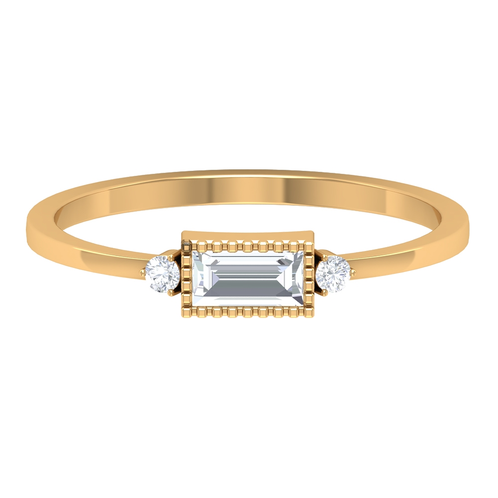 1/4 CT Baguette and Round Shape Diamond Ring with Milgrain Bezel Details