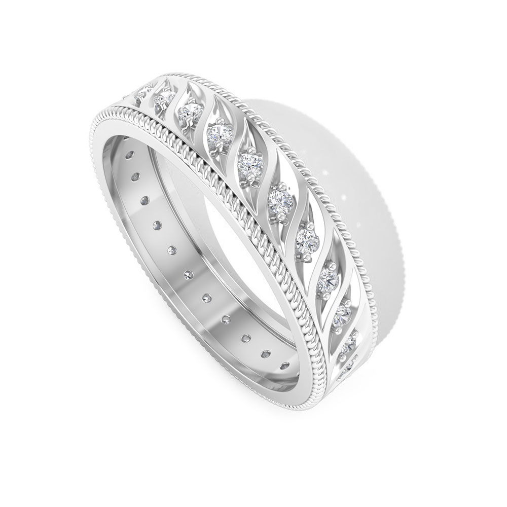 1/4 CT Diamond and Gold Twisted Rope Band Ring for Women