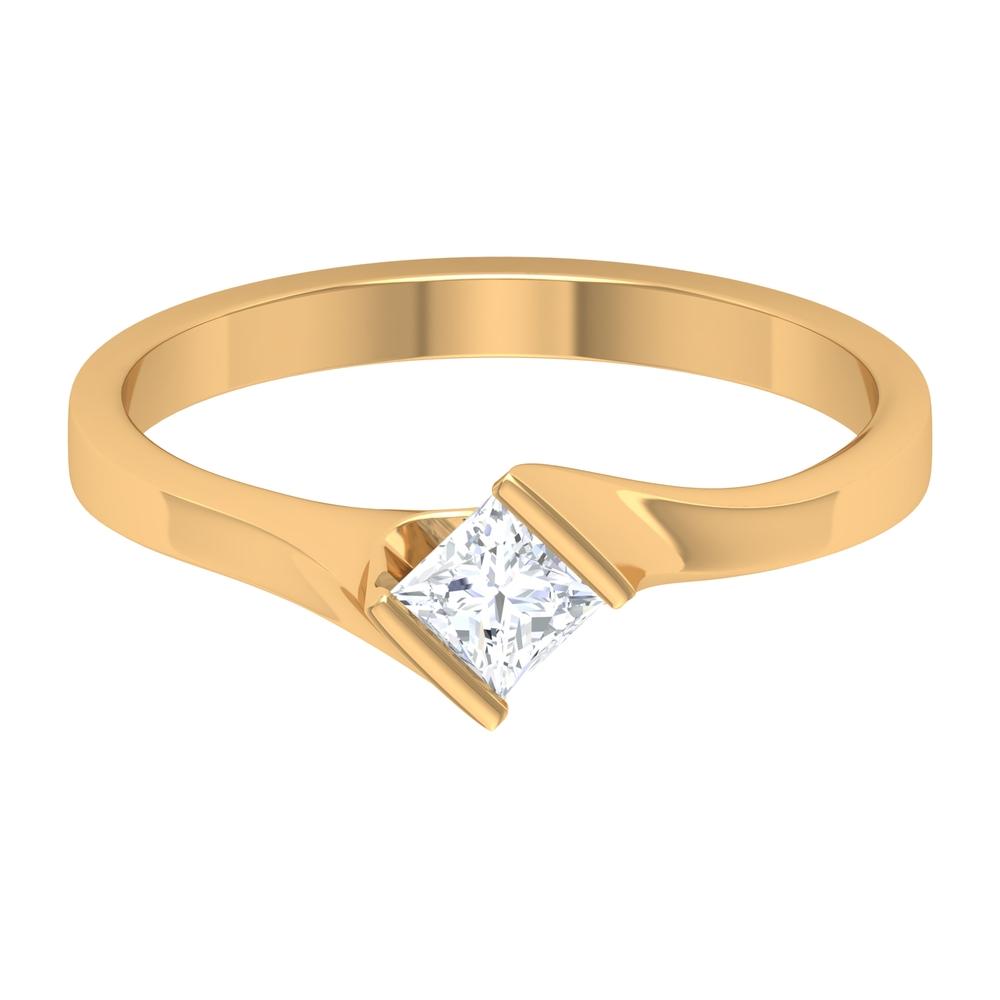 4 MM Princess Cut Diamond Solitaire Ring in Tension Mount Setting with Bypass Shank