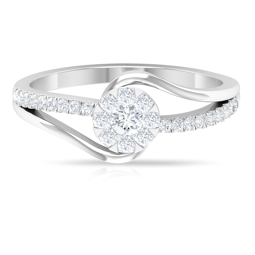 1/2 CT Diamond Engagement Ring in Illusion Setting with Bypass Shank