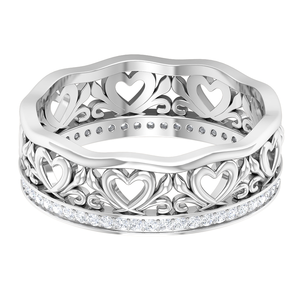 1/4 CT Diamond Band Ring with Gold Heart Shank