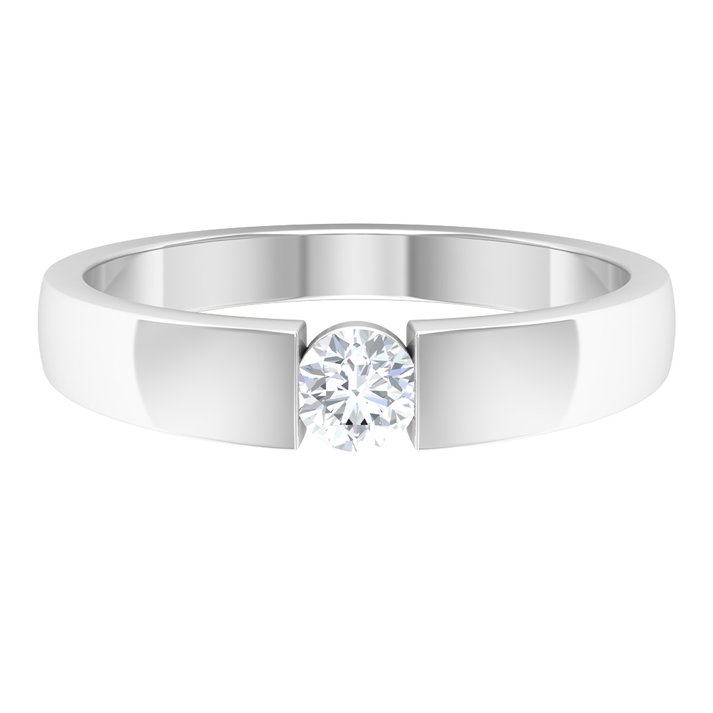 4 MM Diamond Solitaire Band Ring in Tension Mount Setting