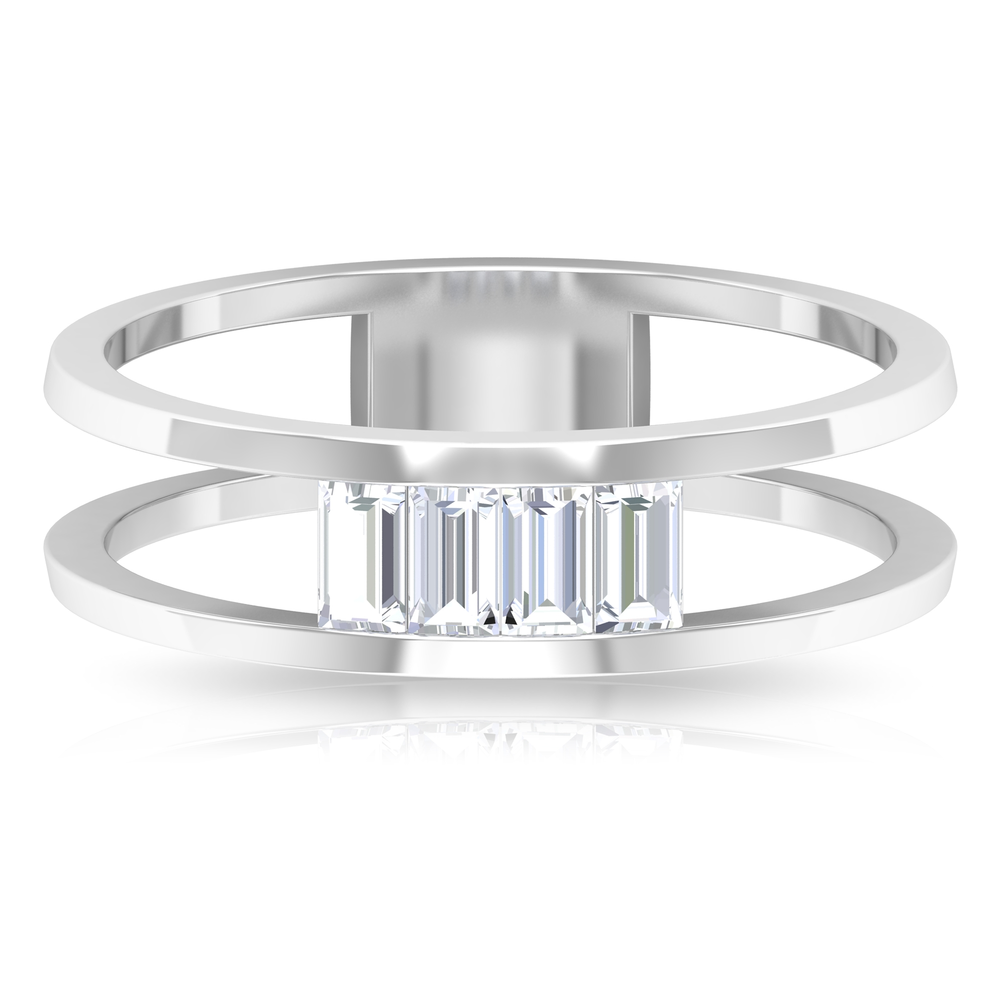 3/4 CT Baguette Cut Diamond Double Band Ring in Tension Mount Setting