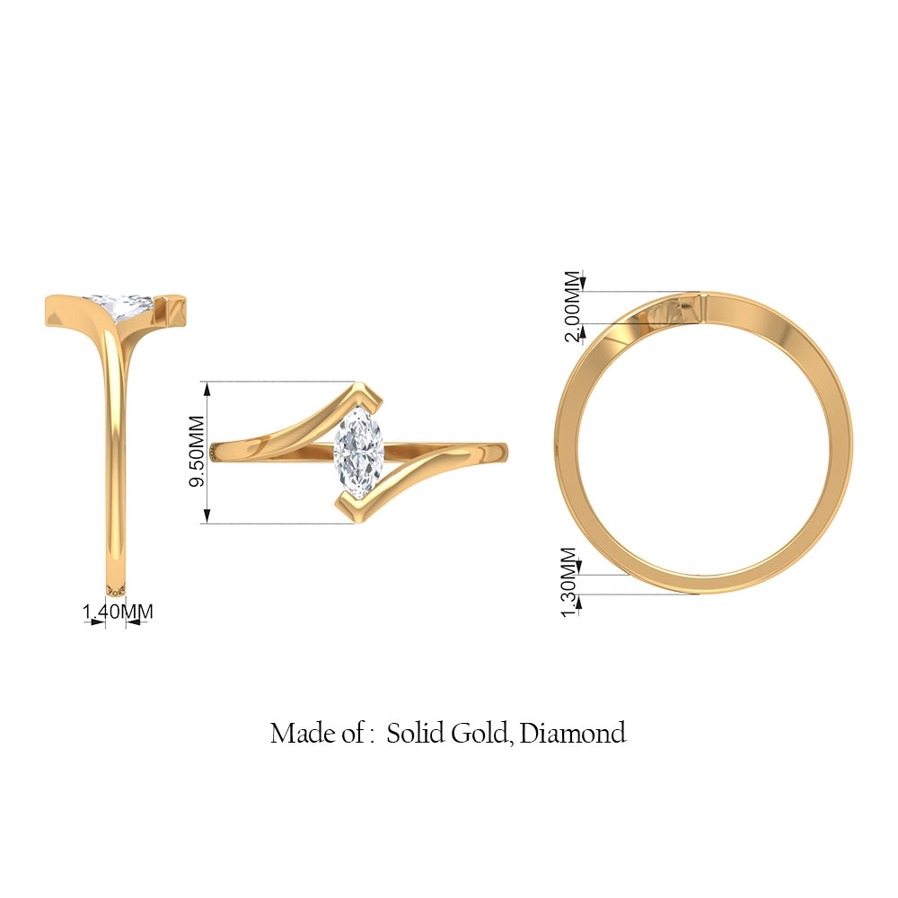 3.5X7 MM Marquise Shape Diamond Solitaire Ring in V Prong Setting