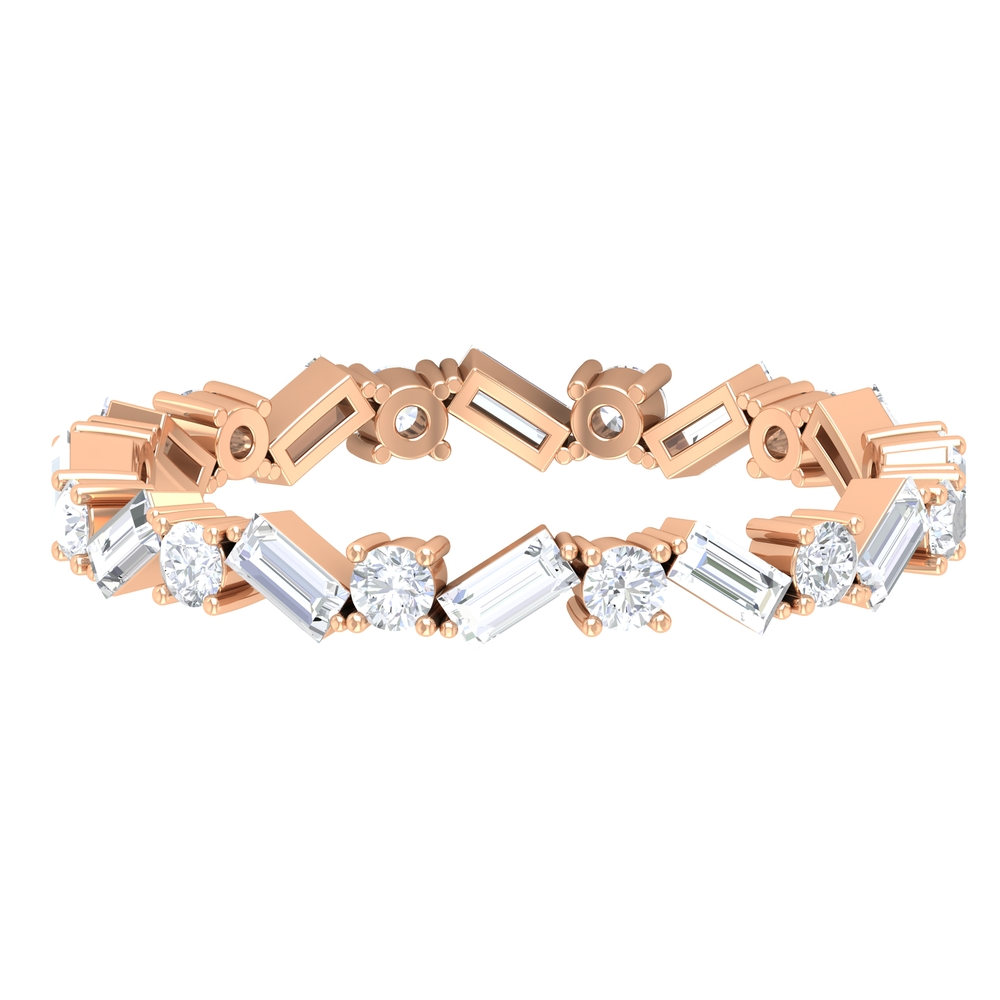 1.25 CT Baguette and Round Cut Diamond Eternity Ring in Prong Setting