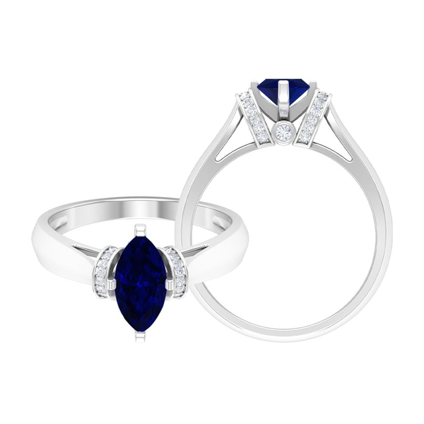 1.25 CT Created Blue Sapphire Ring with Moissanite Accent