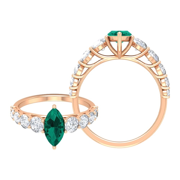 2.25 CT Created Russian Emerald Engagement Ring Moissanite Side Stones