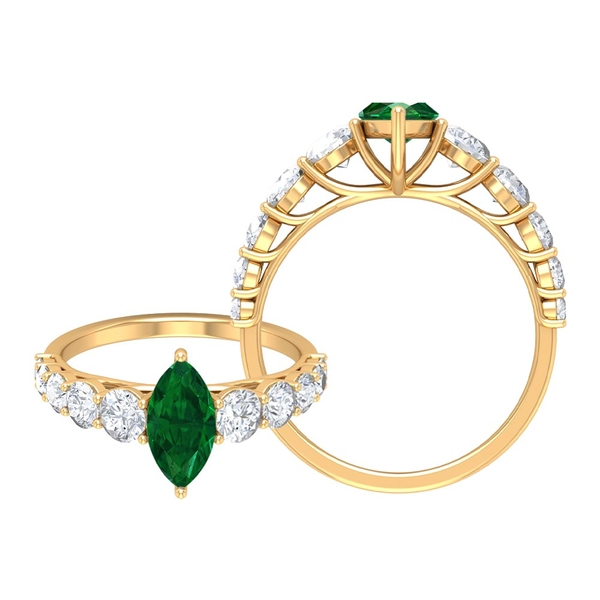 2.25 CT Created Emerald Engagement Ring Moissanite Side Stones