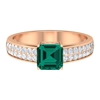 3.50 CT Created Russian Emerald and Moissanite Engagement Ring