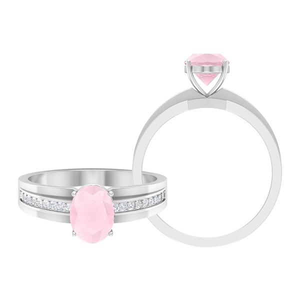 1.75 CT Created Pink Onyx Solitaire Ring with Moissanite Side Stones