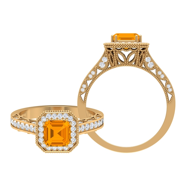 3.50 CT Created Orange Sapphire and Moissanite Vintage Engagement Ring