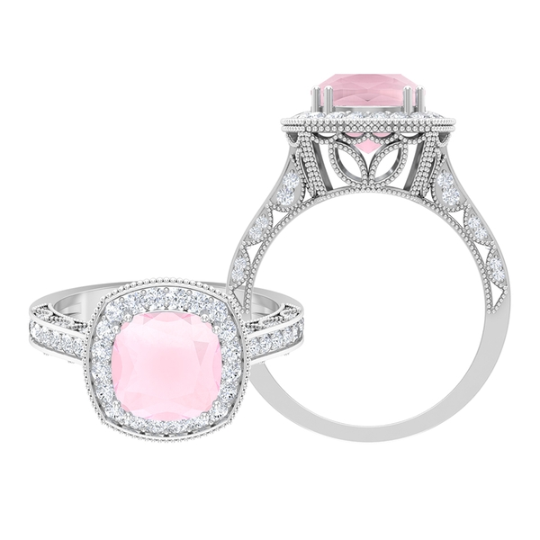 3.25 CT Created Pink Onyx and Moissanite Milgrain Engagement Ring