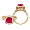 3.25 CT Created Ruby and Moissanite Milgrain Engagement Ring