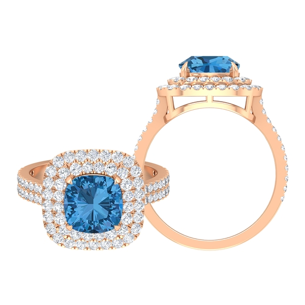 3.25 CT Created Arctic Blue Sapphire and Moissanite Double Halo Engagement Ring