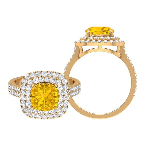 3.25 CT Created Yellow Sapphire and Moissanite Double Halo Engagement Ring