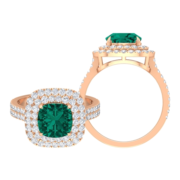 3.25 CT Created Russian Emerald and Moissanite Double Halo Engagement Ring