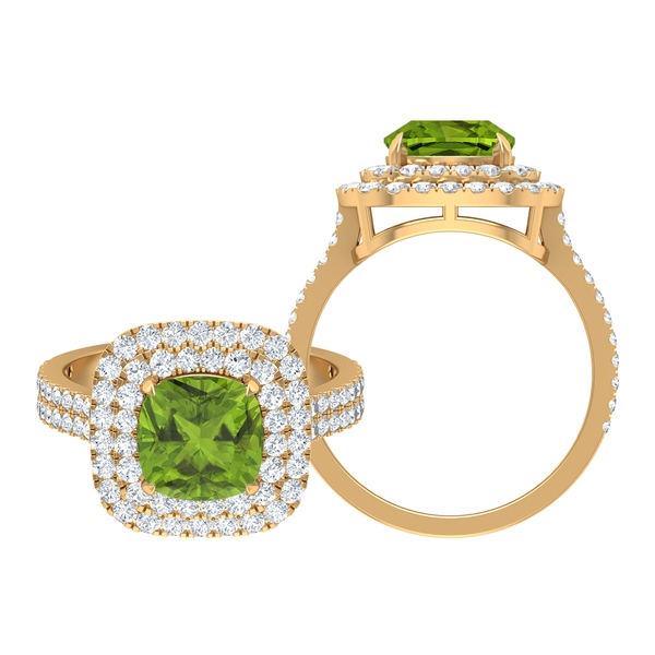 3.25 CT Created Peridot and Moissanite Double Halo Engagement Ring