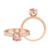 2 CT Created Morganite Solitaire Ring with Moissanite Side Stones