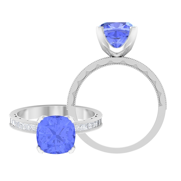 3 CT Cushion Cut Tanzanite Solitaire Ring with Side Stones