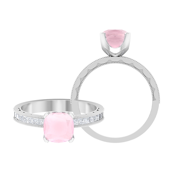2 CT Created Pink Onyx Solitaire Ring with Moissanite Side Stones