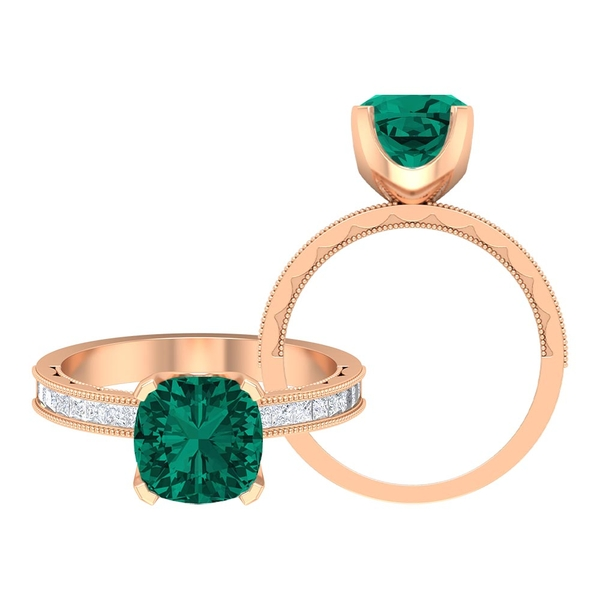 3 CT Created Russian Emerald Classic Solitaire Ring with Moissanite