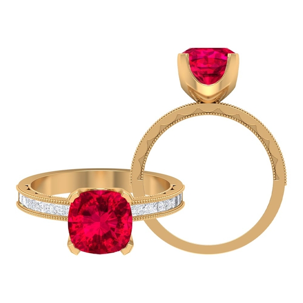 2.50 CT Created Ruby Classic Solitaire Ring with Moissanite
