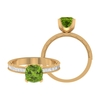 1.75 CT Created Peridot Solitaire Ring with Moissanite Side Stones