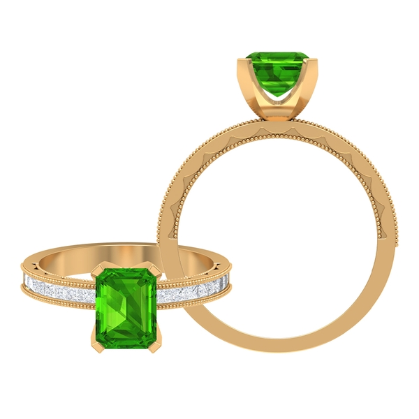 2.25 CT Created Tsavorite Solitaire and Moissanite Ring with Milgrain Details