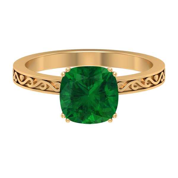 2 CT French Set Created Emerald Solitaire Ring
