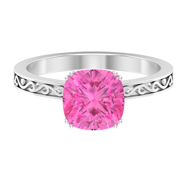 8 MM French Set Created Pink Sapphire Solitaire Ring