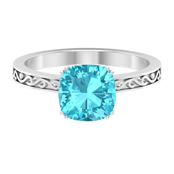 2 CT French Set Swiss Blue Topaz Solitaire Ring