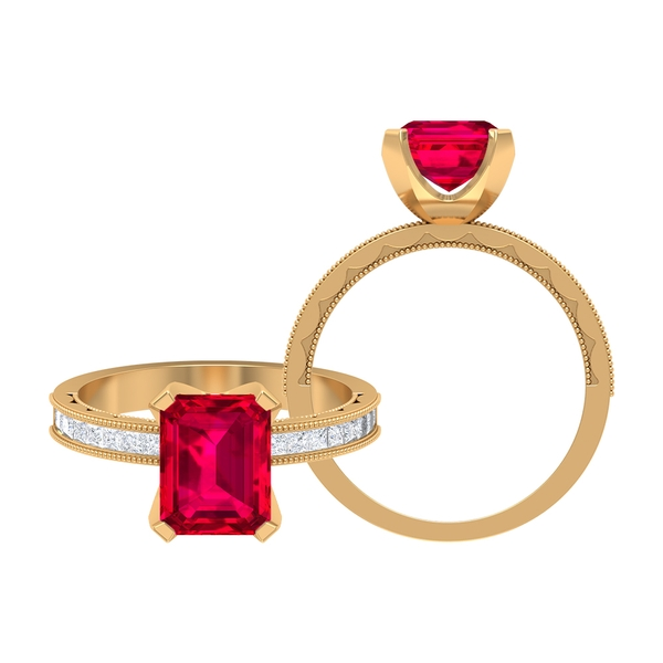 2.75 CT Created Ruby Solitaire and Moissanite Ring with Milgrain Details