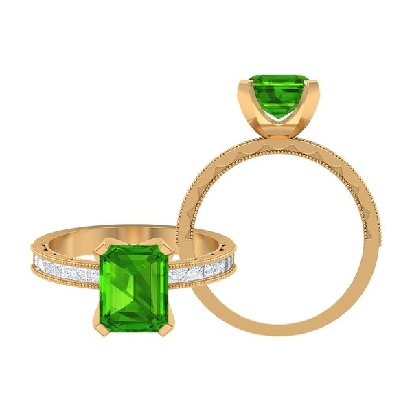 3 CT Created Tsavorite Solitaire and Moissanite Ring with Milgrain Details