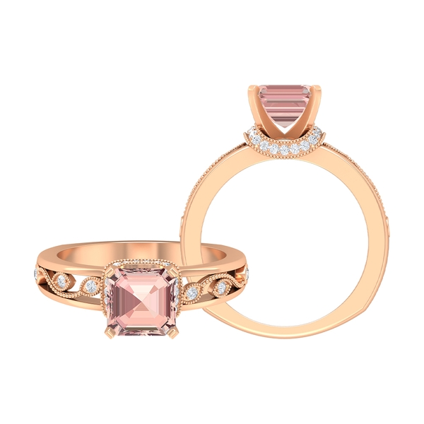 4.25 CT Created Morganite Solitaire Ring with Moissanite Accent