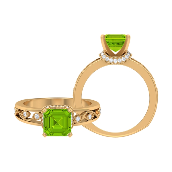 4.25 CT Created Kryptonite Solitaire Ring with Moissanite Accent