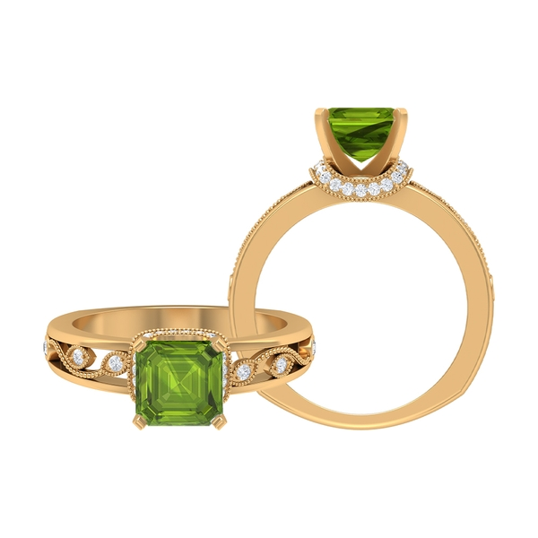 4.25 CT Created Peridot Solitaire Ring with Moissanite Accent