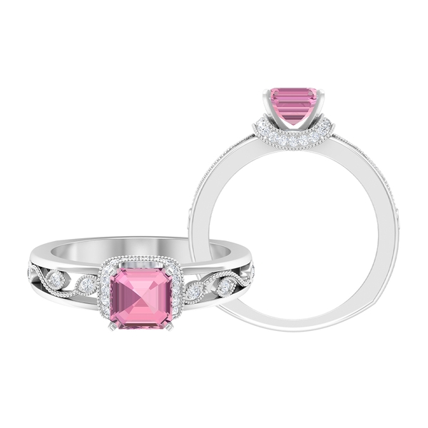 1.50 CT Pink Tourmaline Ring with Moissanite Collar and Milgrain Details