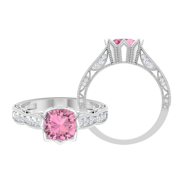 1.75 CT Pink Tourmaline and Moissanite Vintage Engagement Ring