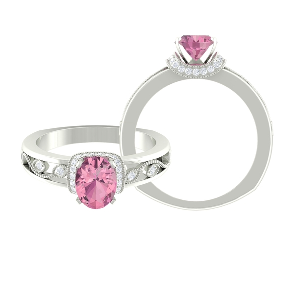 1.25 CT Pink Tourmaline Ring with Moissanite Collar and Milgrain Detailing