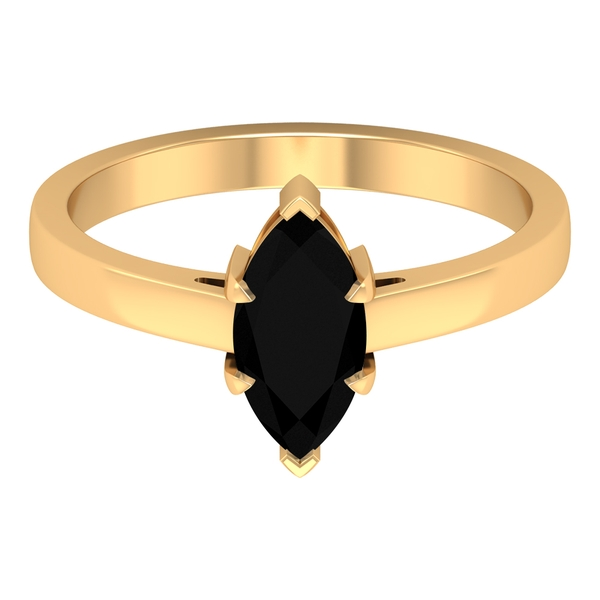 10X5 MM Marquise Cut Created Black Diamond Solitaire Ring