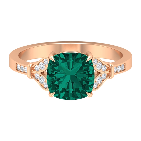 2.25 CT Created Russian Emerald Solitaire Ring with Moissanite Accent