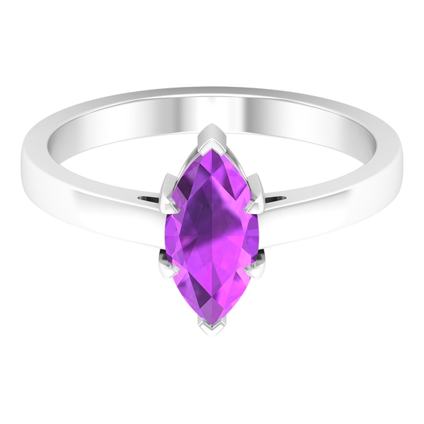 10X5 MM Marquise Cut Created Kunzite Solitaire Ring