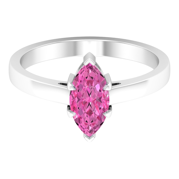 10X5 MM Marquise Cut Created Pink Sapphire Solitaire Ring
