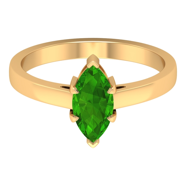 10X5 MM Marquise Cut Created Tsavorite Solitaire Ring