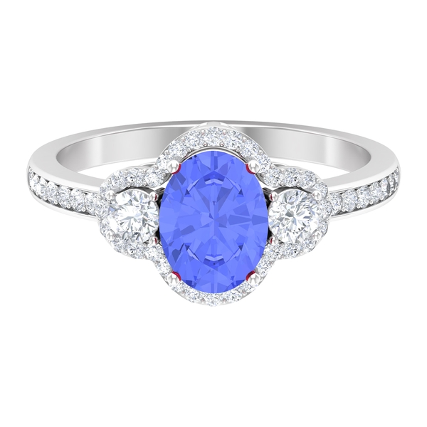 1.75 CT Solitaire Tanzanite and Diamond Halo Engagement Ring