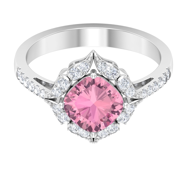 1.75 CT Pink Tourmaline and Moissanite Art Deco Engagement Ring