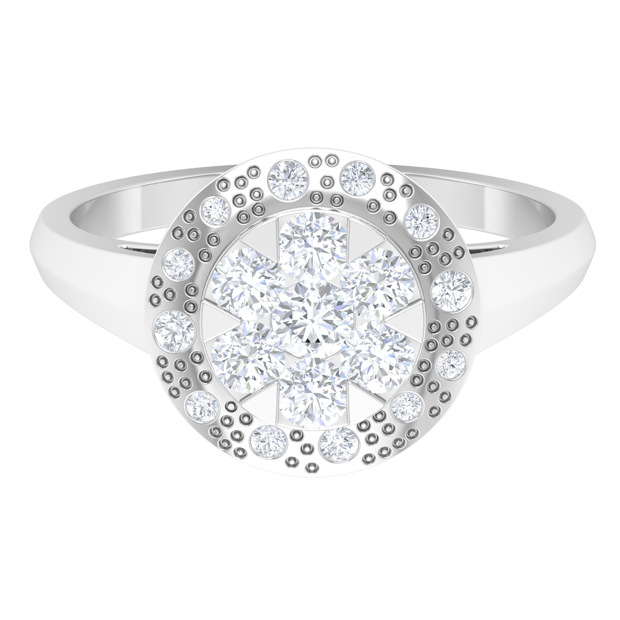3/4 CT Diamond Ring in Illusion Setting and Textured Finish