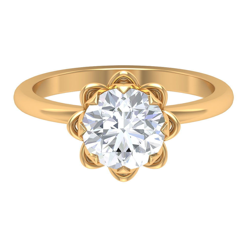 2 CT Moissanite Solitaire Gold Floral Ring